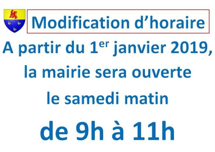 Modification d'horaire le samedi matin à partir du 1er janvier 2019