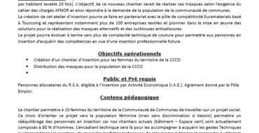 Offre d'emploi – chantier insertion création de masques par la CCCO