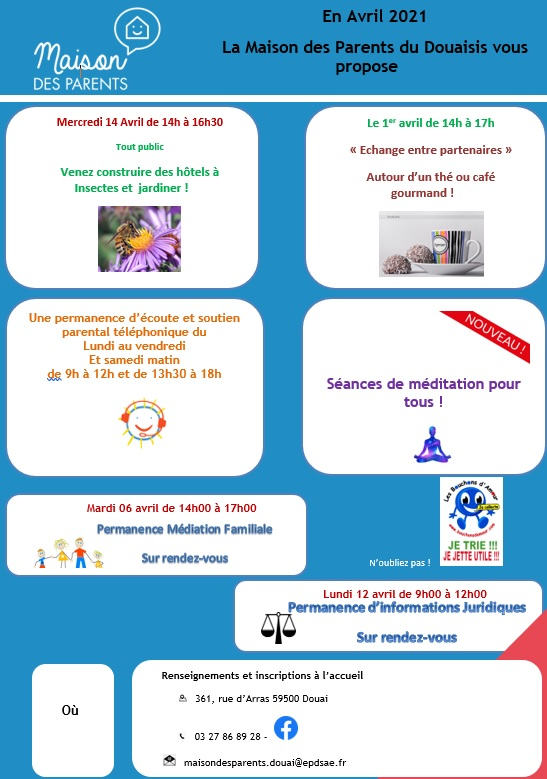 Planning maison des parents du douaisis