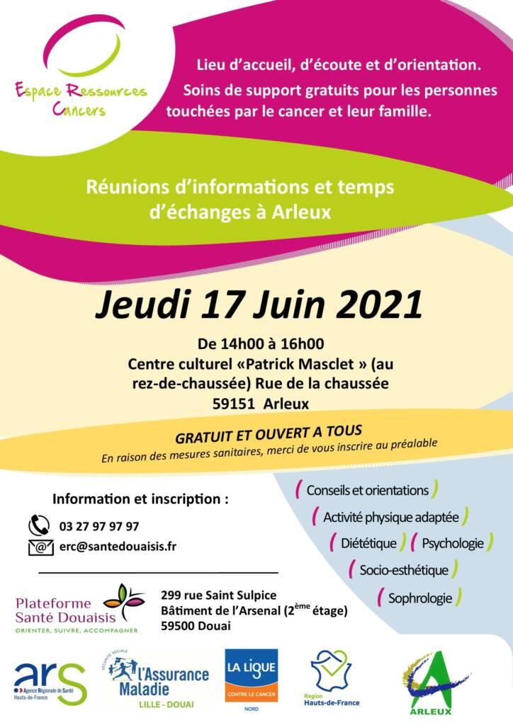 Réunion d'information et temps d'échange de l'Espace Ressources Cancers (ERC) de la Plateforme Santé Douaisis (PSD)