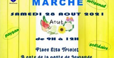 Marché artisanal, paysans et solidaire ! Rendez-vous le samedi 28 Août 2021 sur la Place Elsa Triolet.