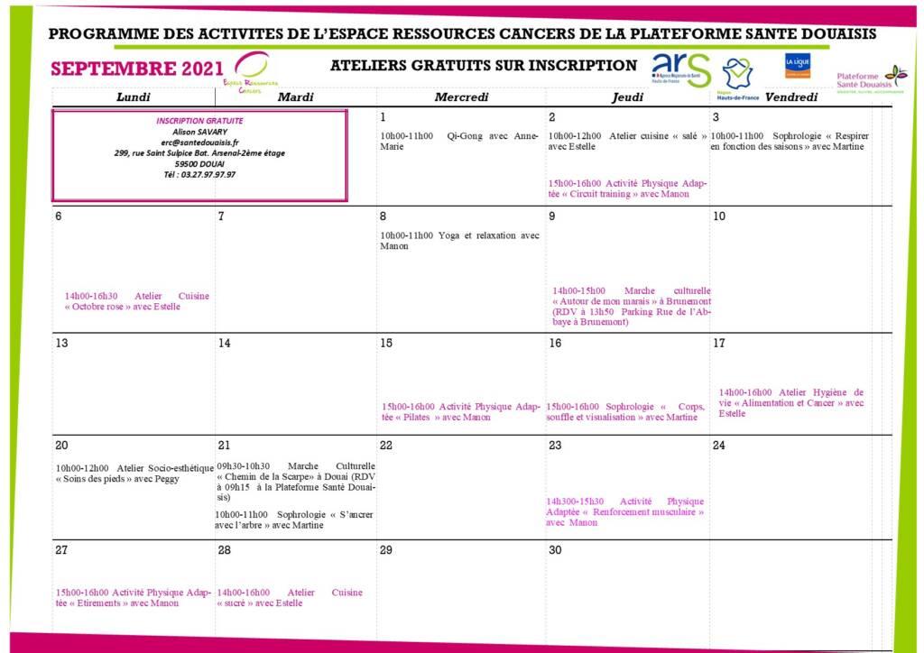 Planning espace ressources cancers