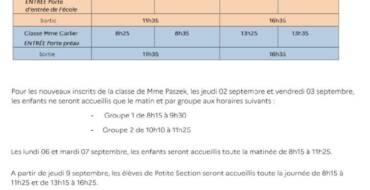 Information horaire École Maternelle Victor Hugo