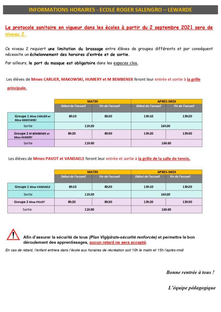 Informations horaires École primaire Roger Salengro